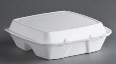 hinged white food container