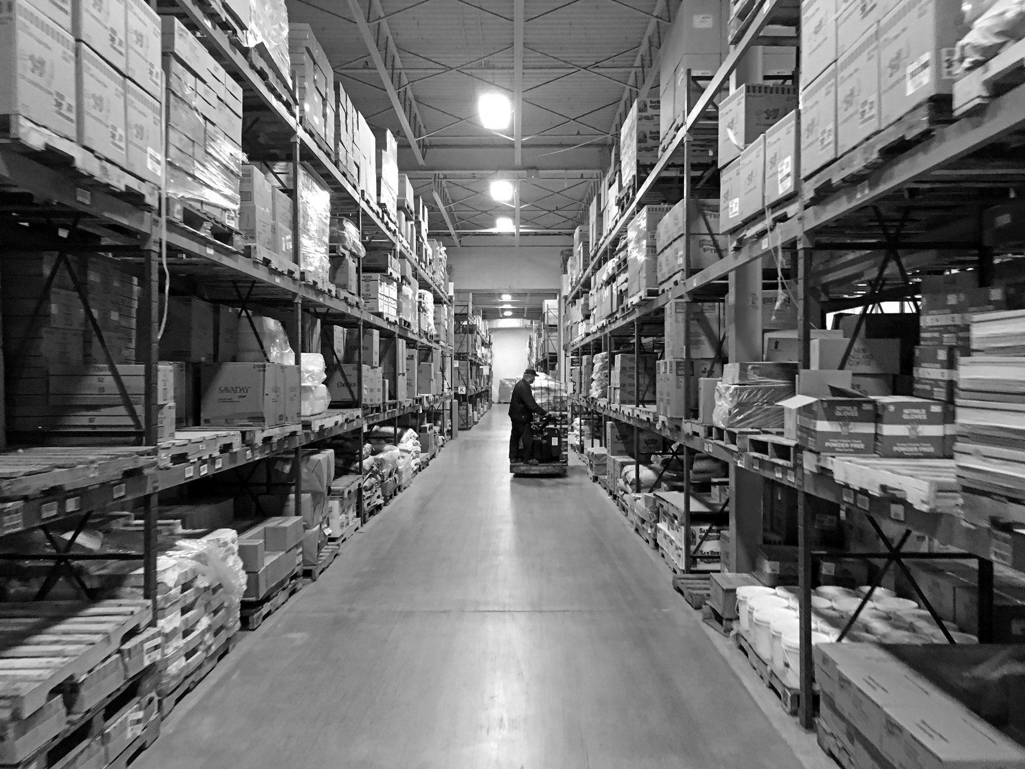 Dennis Warehouse Interior Bw Dennis Paper Food Service