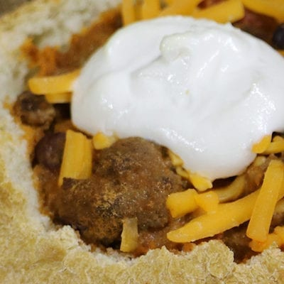 bread bowl with chili