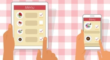 menu with hands on checkered red tablecloth illustration
