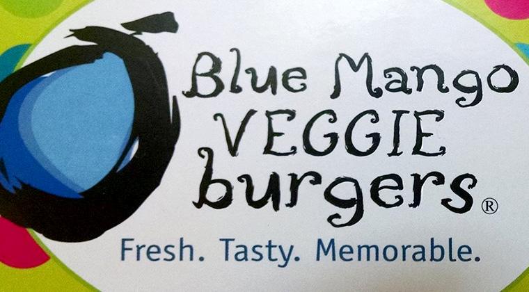 blue mango veggie burger logo graphic