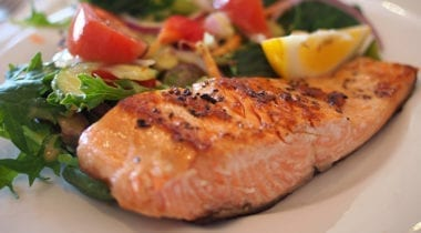 baked salmon filet with garnish