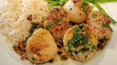 cooked scallops with garnish