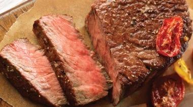 medium rare sliced steak