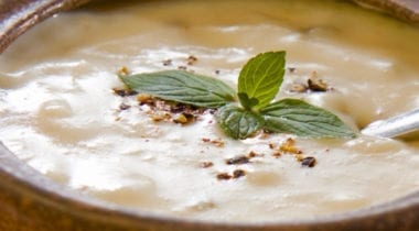 cream soup topped with garnish