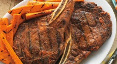 steak with carrots
