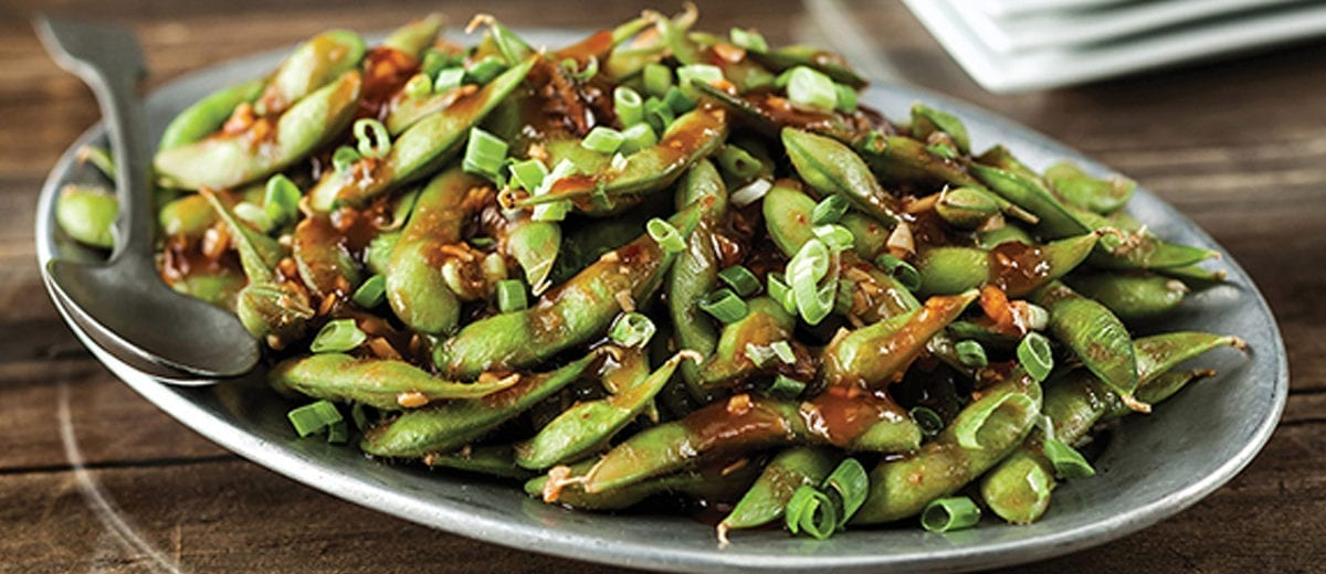 edamame with sauce and seasoning