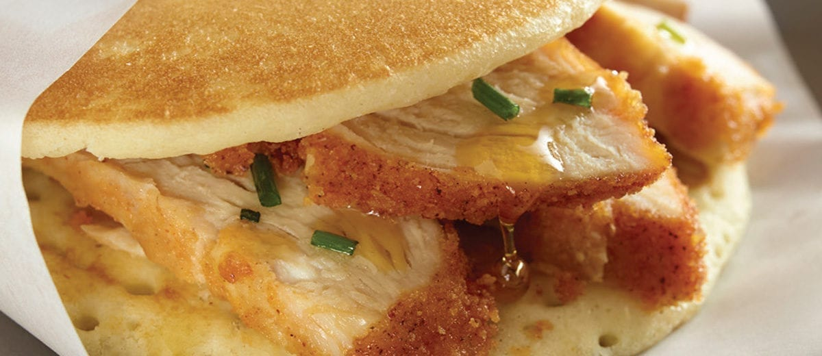 chicken and pancake sandwich