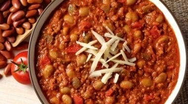 beef chili topped wtih cheese