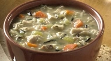 chicken and rice soup with carrots and vegetables