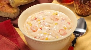 shrimp and corn chowder in a bowl