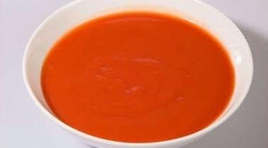 tomato soup in a white bowl