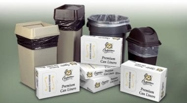 trash can with liners in boxes, waste bins and garbage bags
