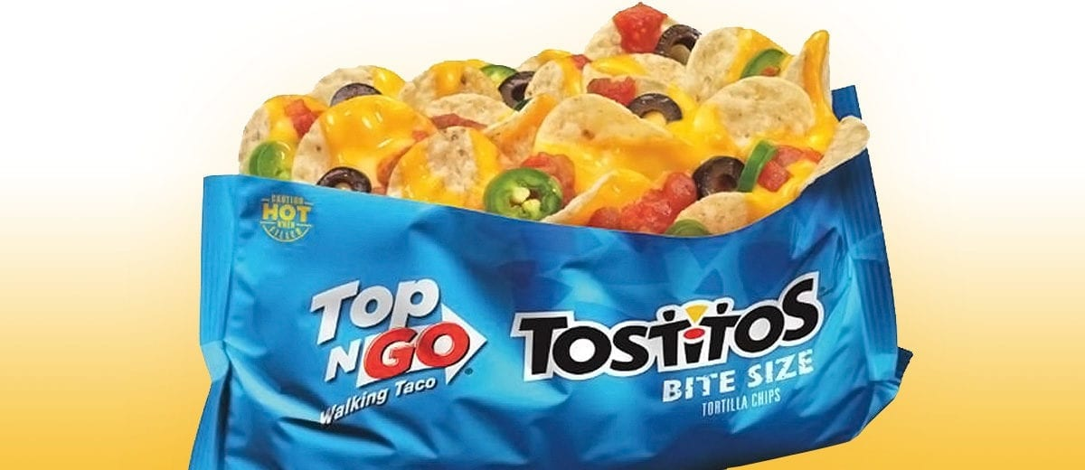 tostitos top-n-go chips in a bag, nachos in a bag