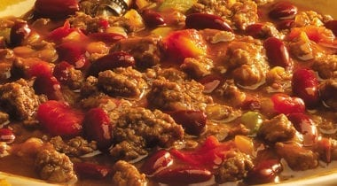chili with tomatoes and beans