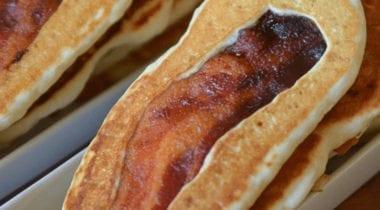 pancake with bacon strip