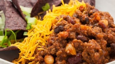 bbq chili with shredded cheese
