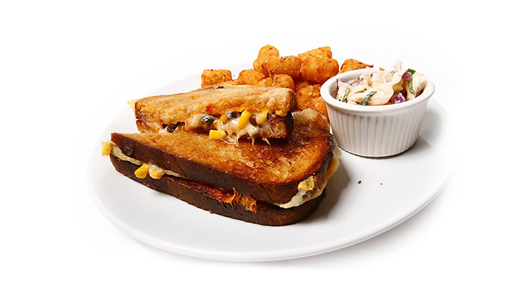 ken's boom boom sauce grilled cheese sandwich with tater tots