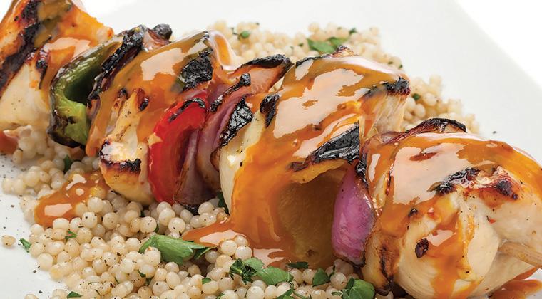 bbq chicken skewer, kabob on rice