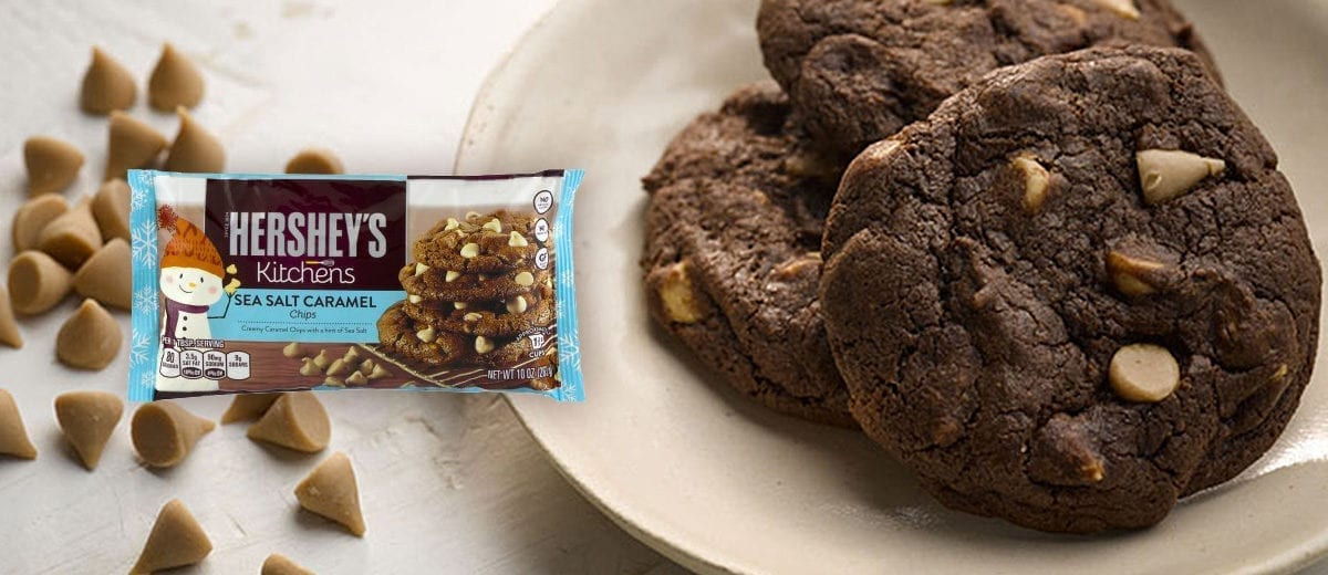 chocolate cookie with hershey's sea salt caramel chips