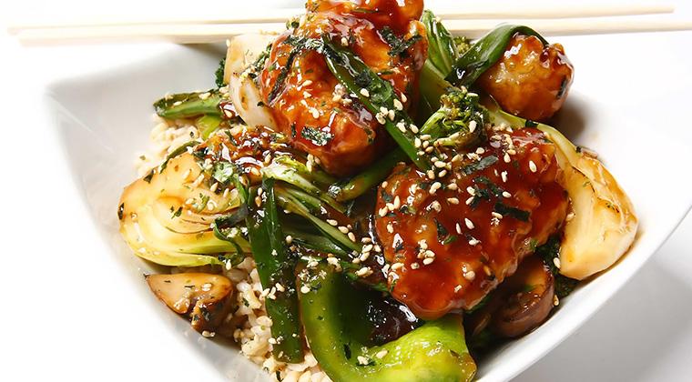 teriyaki wings with vegetables and tempura