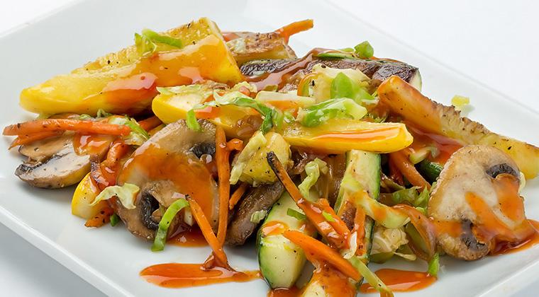 vegetable medley with kens sriracha glaze