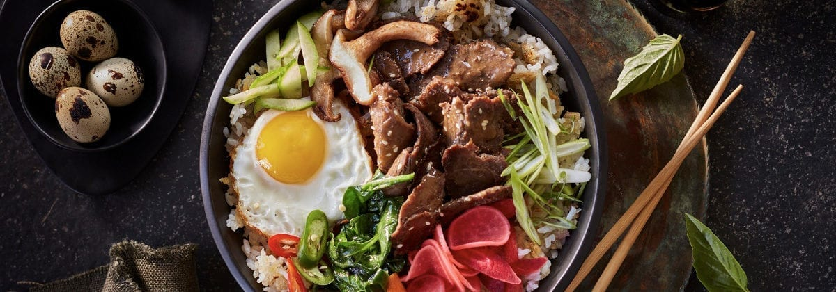 Cafe H Korean beef bowl with eggs and veggies
