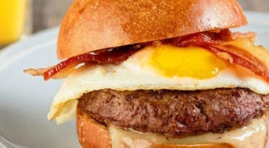 burger with bacon, egg and cheese