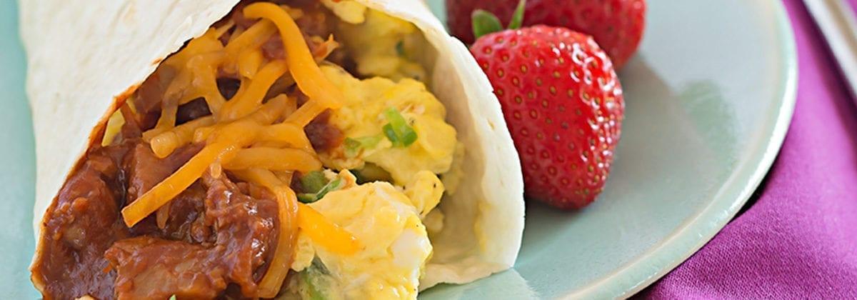 breakfast burrito with strawberries