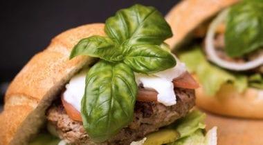 burger with fresh basil