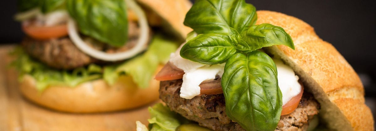 burger with fresh basil