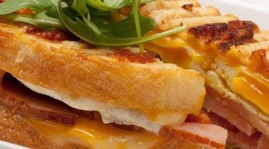 ham, egg and cheese waffle sandwich