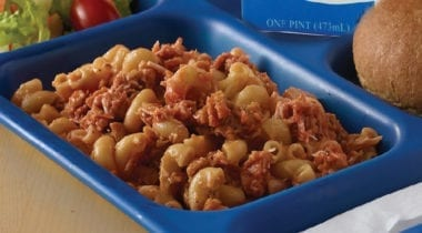 pasta with sauce on school tray