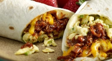 southwest burrito with eggs and beef