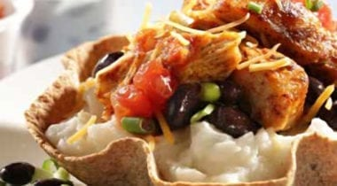 mashed potato tacos in tortilla bowl