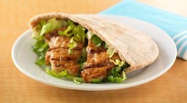 teriyaki with lettuce in pita wrap