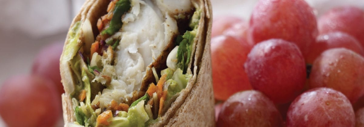 fish wrap with grapes