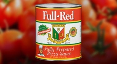 full red pizza sauce can