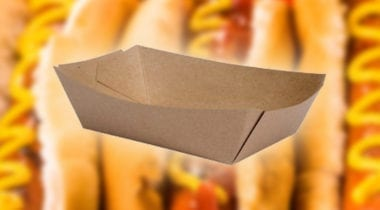 kraft paper hotdog holder with hotdog backdrop