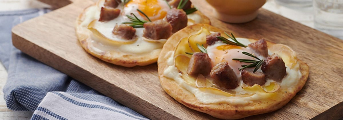 sausage, egg and cheese on naan