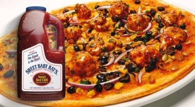 thai chicken pizza with ken's sweet red chili sauce gallon jug