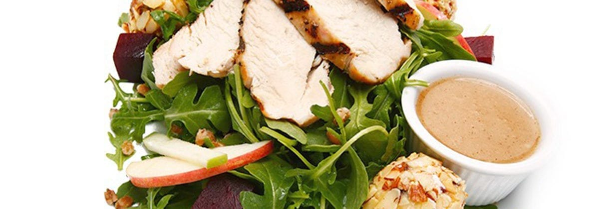 grilled chicken on beet salad