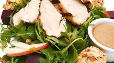grilled chicken on beet salad