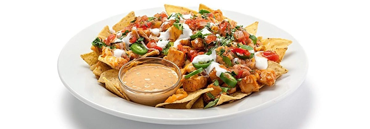 chicken nachos with jalapenos and dipping sauce