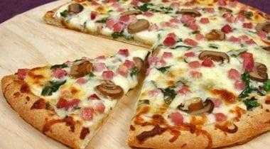 diced ham and mushroom pizza