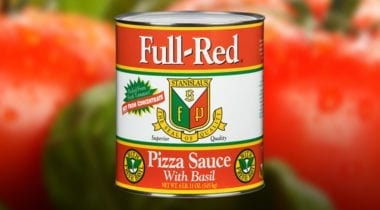 full red with basil pizza sauce can