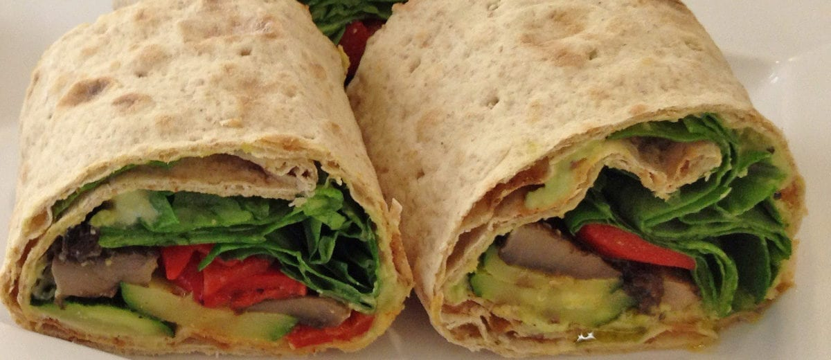 wrap with spinach and peppers