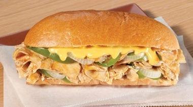 advance chicken, onion and green pepper sandwich