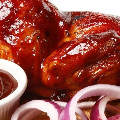 chicken with bbq sauce and onions