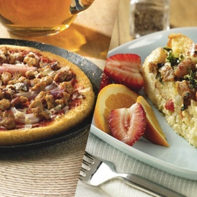 hormel sausage and onion pizza, quiche with hormel sausage crumble
